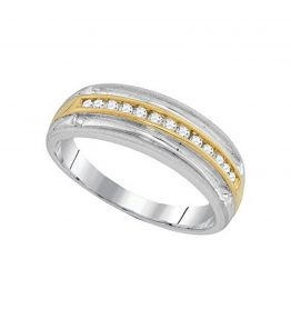 10kt-Two-tone-White-Gold-Mens-Round-Diamond-Wedding-Anniversary-Band-Ring-14-Cttw-0
