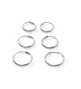 3-Pairs-CartilageNoseLips-Sterling-Silver-925-Small-Endless-Hoop-Earrings-10mm-12mm-14mm-0