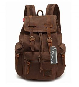 Canvas-Backpack-PKUVDSL-AUGUR-SERIES-Vintage-Canvas-Leather-Backpack-Hiking-Daypacks-Computers-Laptop-Backpacks-Unisex-Casual-Rucksack-Satchel-Bookbag-Mountaineering-Bag-for-Men-0