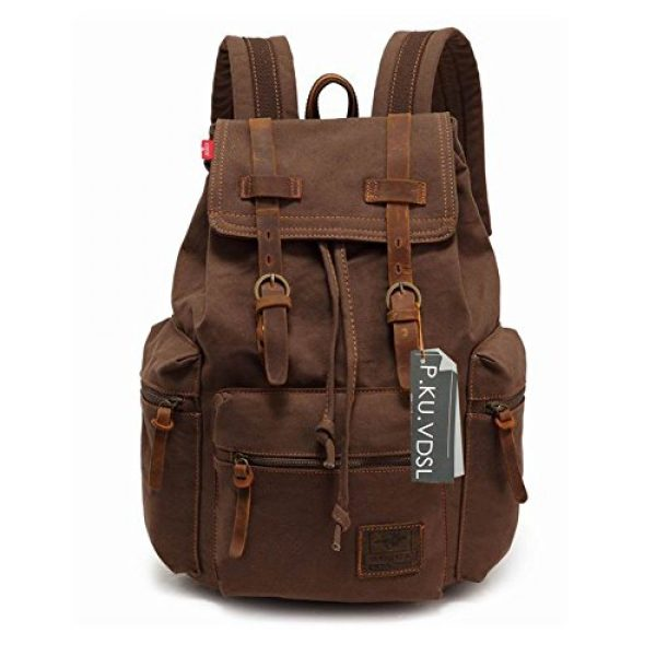 4375e4a85 P.KU.VDSL Canvas Laptop Backpack, AUGUR SERIES Vintage Leather ...