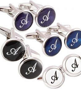 HJ-Mens-2PCS-Rhodium-Plated-Cufflinks-Silver-Initial-Letter-Shirt-Wedding-Business-1-Pair-Set-4-Color-A-Z-0