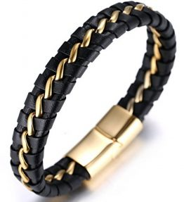 Halukakah-SOLO-Mens-Genuine-Leather-Bracelet-with-Titanium-Chain-SilverGoldenGun-Black-846215cm-0