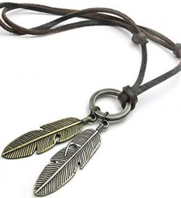 KONOV-Vintage-Angel-Feather-Pendant-Leather-Cord-Mens-Necklace-Chain-Gold-Silver-Brown-0