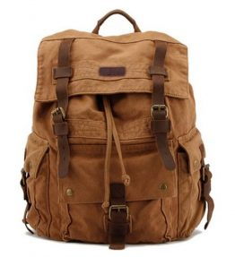 Kattee-Mens-Leather-Canvas-Backpack-Large-School-Bag-Travel-Rucksack-0