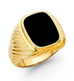 Mens-18mm-14K-Solid-Gold-Brilliant-Black-Cubic-Zirconia-Ring-0