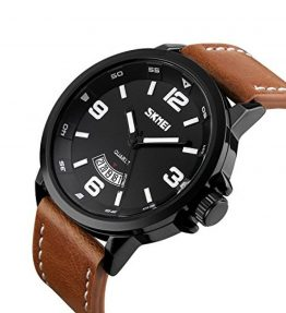 Mens-Unique-Analog-Quartz-Leather-Band-Dress-Wrist-Watch-Waterproof-Classic-Business-Casual-Fashion-Design-Scratch-Resistant-Face-Calendar-Date-Window-Phase-98FT-30M-3ATM-Water-Resistant-Black-0