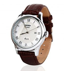 Mens-Unique-Roman-Numeral-Fashion-Design-Quartz-Analog-Waterproof-Wrist-Business-Casual-Watch-with-Stainless-Steel-Case-98ft-30M-3ATM-Water-Resistant-Comfortable-PU-Leather-Band-Brown-0