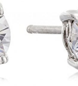 Platinum-or-Gold-Plated-Sterling-Silver-Round-Cut-Swarovski-Zirconia-Stud-Earrings-0