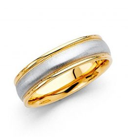Wellingsale-14k-Two-2-Tone-White-and-Yellow-Gold-Polished-Satin-6MM-Embossed-Rounded-Edge-Milgrain-Comfort-Fit-Wedding-Band-Ring-0