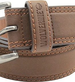 Wolverine-Mens-Double-Topstitched-Leather-Belt-Roller-Buckle-0