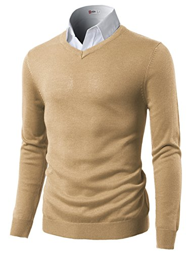 H2h Mens Classic Slim Fit Longsleeve Light Weight V Neck Pullover