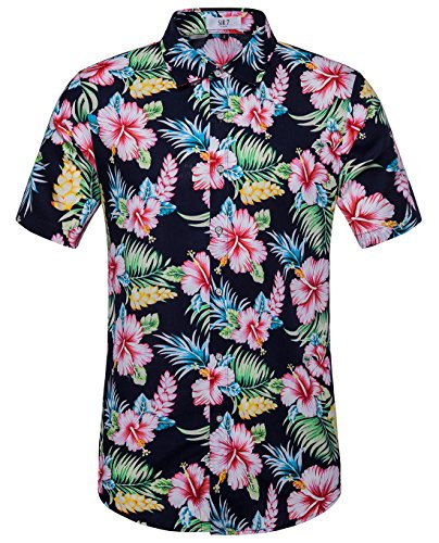 d88d834c6 SIR7 Men's Hawaiian Flower Print Casual Button Down Short Sleeve Shirt |  Katodorin Shopping Store. »